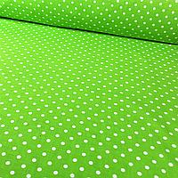✁ Отрезы бязи Горошки 2 мм на зелёном, фото 1