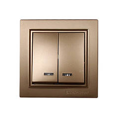 ElectroHouse Выключатель с подсветкой двойной Роскошно золотой