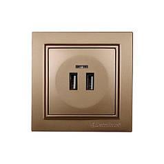 ElectroHouse Розетка USB (2 порта) 2А Enzo Luxury Gold