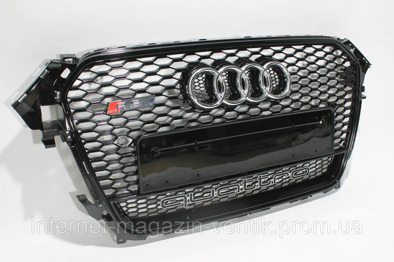 Решетка радиатора Audi A4 стиль RS4 Black Quattro 12+