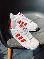 Кроссовки красные Adidas Superstar Red Адідас Суперстар, фото 1