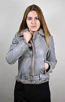 Кожаная женская куртка с норкой, серая