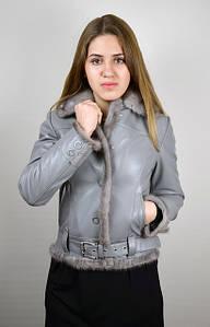 Кожаная женская куртка с норкой, серая, коллекция 2016