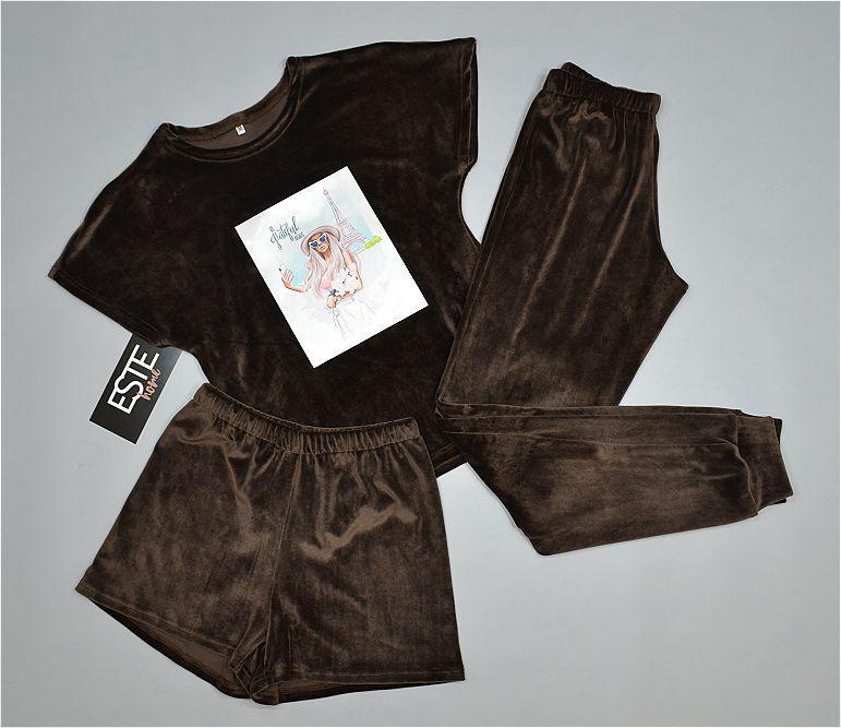 Женская теплая пижама тройка. Плюшевый комплект футболка+штаны+шорты.