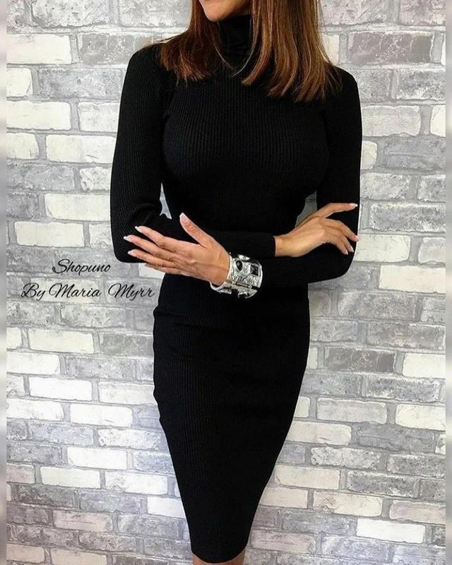 Жіноче повсякденне плаття-гольф в рубчик 44 розміру