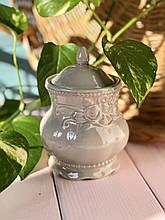 Сахарница керамическая Розы 300мл серая