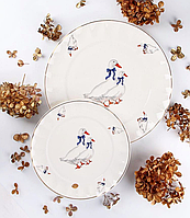 Набор из 12 тарелок Гуси (6шт 20 см + 6 шт 26 см)