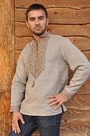 Мужская рубашка-вышиванка бежевого цвета машинной вышивки М18-236