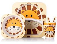 Набор детской посуды из бамбука Лев на 5 предметов