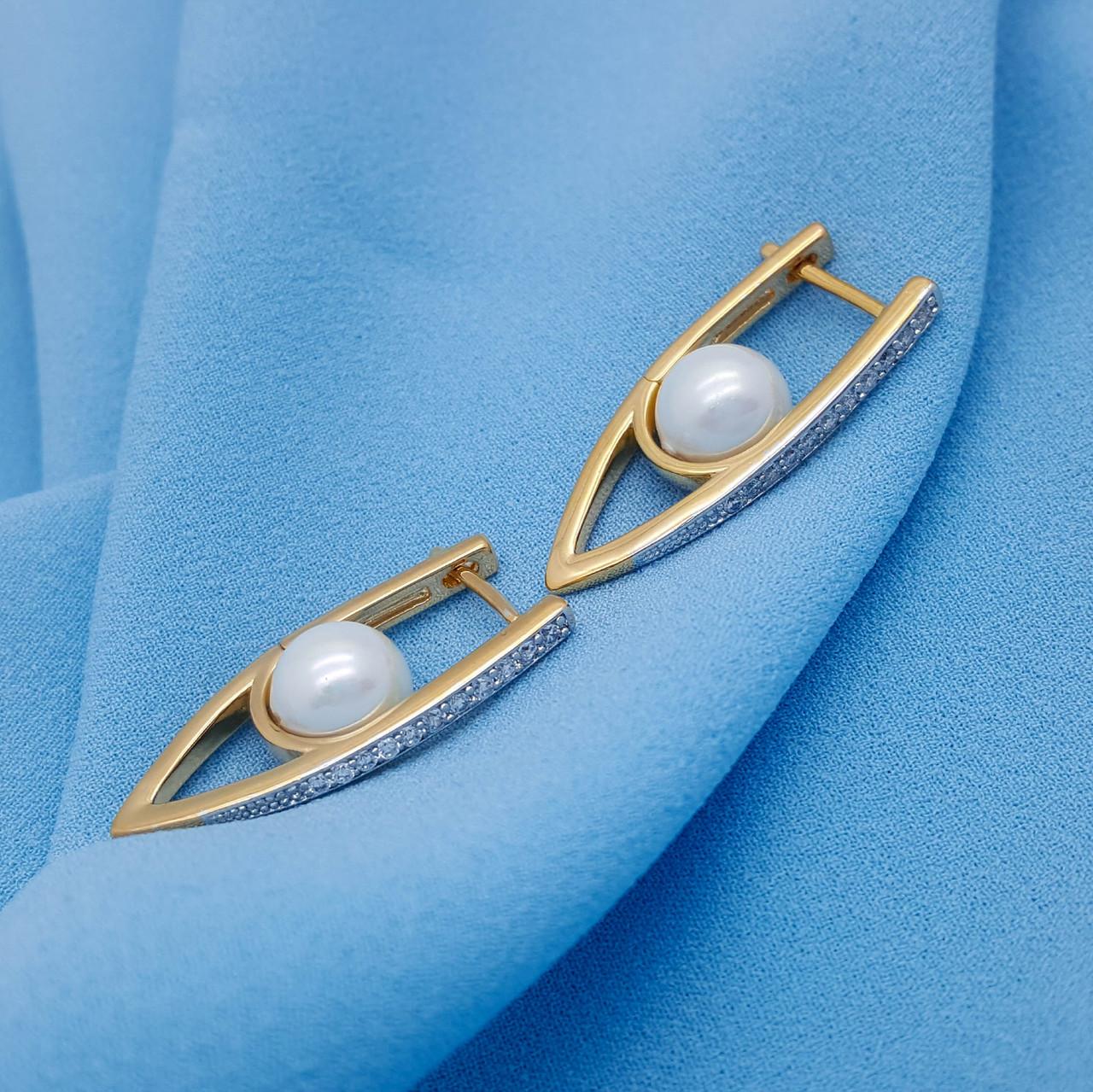 Сережки Доріжка з перлиною, вставка цирконій, позолота+родій, Xuping, 18К
