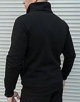 Мужская утепленная толстовка черного цвета с двумя молниями, фото 2