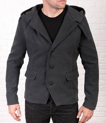 Чоловіче молодіжне пальто-тренч з кашеміру сірого кольору, фото 2