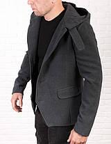 Чоловіче молодіжне пальто-тренч з кашеміру сірого кольору, фото 3
