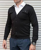 Чёрная мужская кофта кардиган на пуговицах с погонами, фото 2