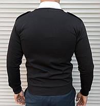 Чёрная мужская кофта кардиган на пуговицах с погонами, фото 3