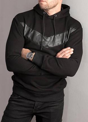 Чорний чоловічий худі утеплений з шкіряною вставкою, фото 2