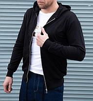 Кофта мужская на молнии чёрная с капюшоном, фото 2