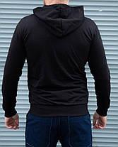 Кофта мужская на молнии чёрная с капюшоном, фото 3