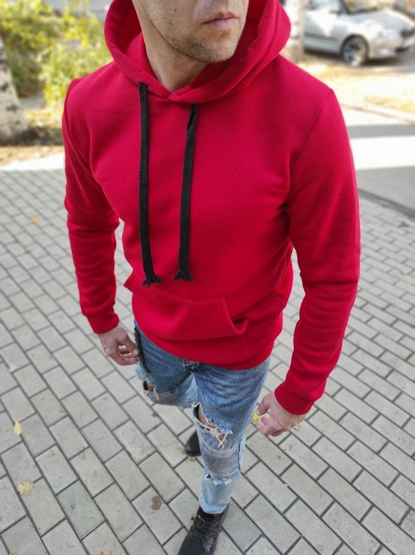 Чоловічий теплий худі з капюшоном червоний
