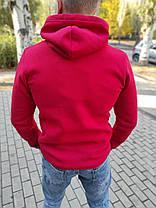 Чоловічий теплий худі з капюшоном червоний, фото 2