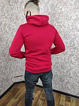 Чоловічий теплий худі з капюшоном червоний, фото 3