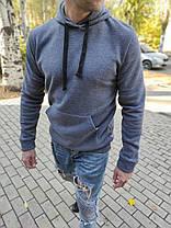 Чоловічий теплий худі з капюшоном сірий меланж, фото 2