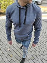 Чоловічий теплий худі з капюшоном сірий меланж, фото 3