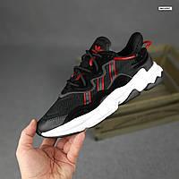 Мужские спортивные кроссовки Adidas Ozweego (черные с красным) 10343 демисезонные низкие кроссы