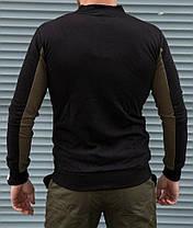 Стильна чоловіча кофта бомбер двоколірна чорна з зеленими вставками, фото 2
