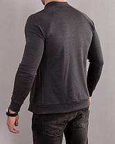 Мужская серая кофта на молнии в стиле casual без карманов, фото 3