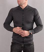 Мужская серая кофта на молнии в стиле casual без карманов, фото 2
