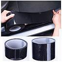Карбонова плівка, скотч, молдинг стрічка Карбон 4D, вінілова стрічка з вуглецевого волокна захисна кромка 5 см, фото 2