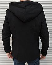 Молодежное мужское пальто - тренч , черного цвета из кашемира, фото 3
