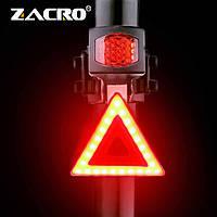 Мощная задняя фара для велосипеда ZACRO (COB led, 5 режимов, USB, Встроенный аккумулятор) велосипедная мигалка