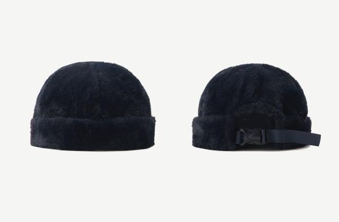 Плюшева шапка-докер з застібкою темно-синя, коричнева, бордова