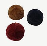 Плюшева шапка-докер з застібкою темно-синя, коричнева, бордова, фото 3