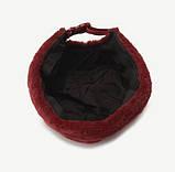 Плюшева шапка-докер з застібкою темно-синя, коричнева, бордова, фото 4
