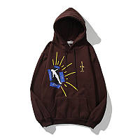 Теплая мужская худи на флисе Travis Scott с капюшоном коричневая размеры M L XL XXL