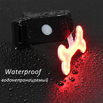 Супер яркий велосипедный фонарь (COB led, 5 режимов, USB, Встроенная батарея) габарит стоп