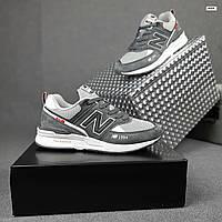 Замшевые мужские кроссовки New Balance 574 1994 (светло-серые) 10350 демисезонная весенняя обувь