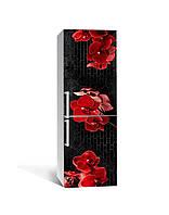Виниловая наклейка на холодильник 3Д Красная орхидея под кирпич (пленка ПВХ) 65*200см Цветы Черный
