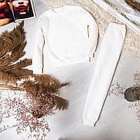 Женский спортивный костюм Bassic теплый на флисе белый   Зимний комплект женский Свитшот + Штаны ЛЮКС качества