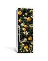 Декор 3Д наклейка на холодильник Новогоднее украшение Шары (пленка ПВХ фотопечать) 65*200см Текстуры Зелёный