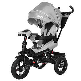 Велосипед трехколесный TILLY Impulse T-386/1 Серый лен | Велосипед-коляска с родительской ручкой