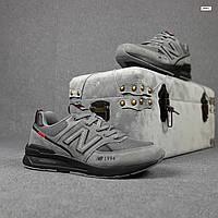 Замшевые мужские кроссовки New Balance 574 1994 (серые на черной) 10351 демисезонная весенняя обувь