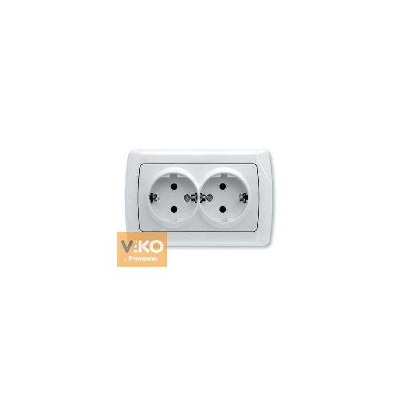 Розетка двойная с заземлением VIKO Carmen - Белый