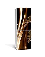 Декор 3Д наклейка на холодильник Перья жар-птицы (пленка ПВХ фотопечать) 65*200см Абстракция Коричневый