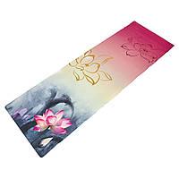 Коврик для фитнеса и йоги джутовый каучуковый Zelart 7157-4 2x-слойный 3мм Grey-Pink-White