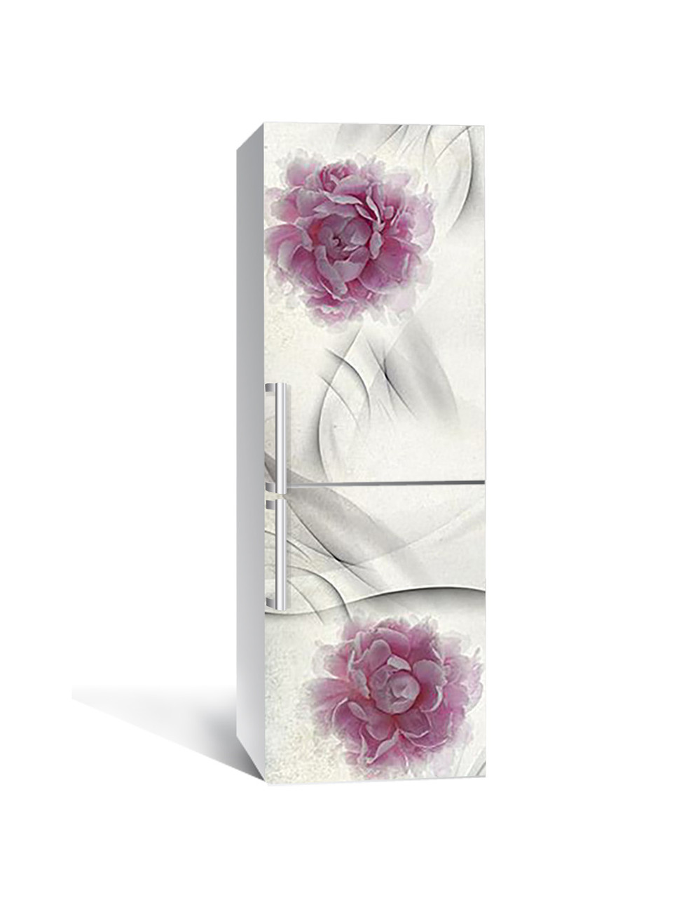 Наклейка на холодильник Пишні бутони Шовк (плівка ПВХ з ламінуванням) 65*200см Абстракція Сірий