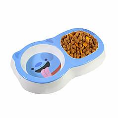 Миска для котів і собак Taotaopets 115506 Blue подвійна пластикова